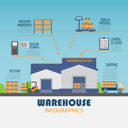 warehouse forklift: almac�n, carga, gesti�n empresarial log�stica infograf�a antecedentes y elementos. Puede ser utilizado para los datos de negocio, dise�o de p�ginas web, plantilla de folleto. ilustraci�n vectorial Vectores