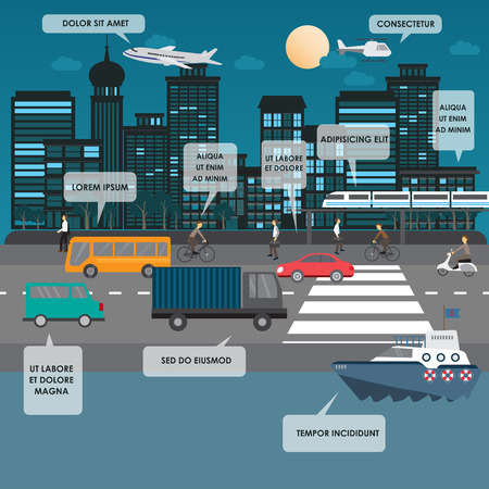 night traffic: transportation and city traffic infographics element. can be used for workflow layout, diagram, web design, banner template. Vector illustration Illustration