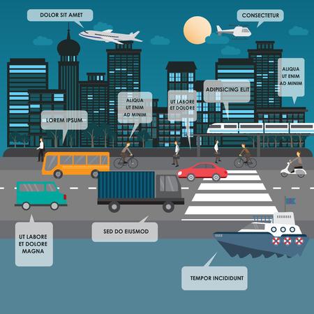 transportes: transporte y tráfico de la ciudad infografía elemento. se puede utilizar para el diseño de flujo de trabajo, diagrama, diseño web, plantilla de banner. Ilustración vectorial
