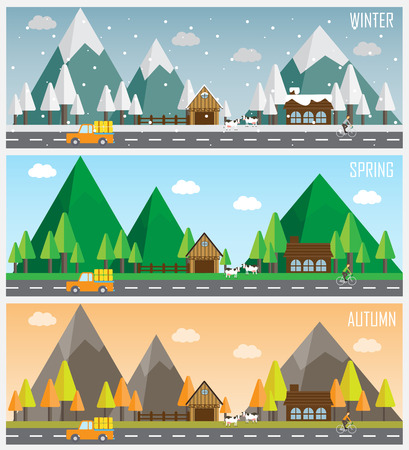 winter weather: several cityscape of beautiful natural landscapes at different time of the year - winter, spring,  autumn, planet earth life cycle concept. vector  illustration
