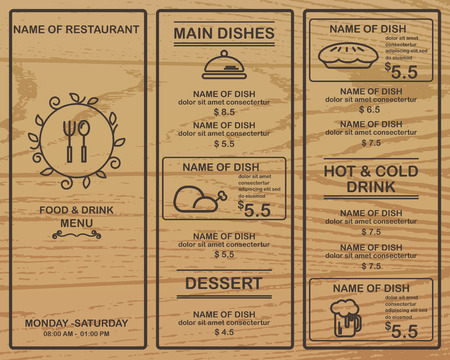 speisekarte: Restaurant, Bistro und Café-Menü, Infografiken und Hintergrundelemente Holz-Design. Kann für das Layout, Banner, Web-Design, Broschüre Vorlage verwendet werden. Vektor-Illustration