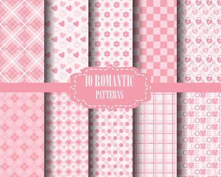 scot: set of Heart and sweet pink pattern, for valentines day, Pattern Swatches, vector, Endless texture can be used for wallpaper, pattern fills, web page,background,surface