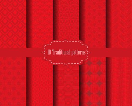nowy rok: 10 różnych chińskich wzorów wektorowych. Kompletne tekstura może być stosowany do tapety, wzór wypełnienia tła strony internetowej, tekstury powierzchni. Ilustracja