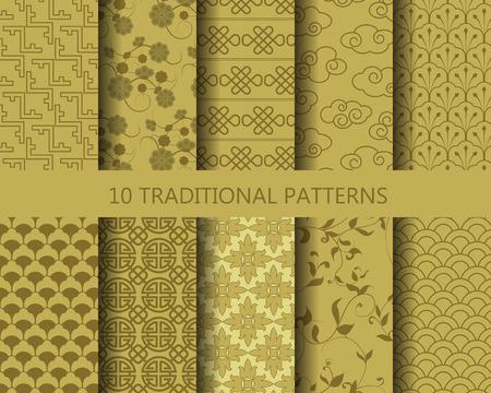 10 verschiedene klassische traditionelle Goldmuster. Endlose Textur kann für Tapeten, Muster füllt, Web-Seite Hintergrund, Oberflächenstrukturen.
