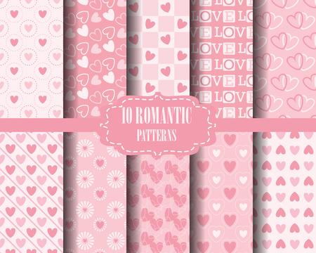 fondo para tarjetas: conjunto de patrones de coraz�n, para el d�a de san valent�n, Muestras patr�n, vector, textura sin fin se puede utilizar para el papel pintado, patrones de relleno, p�gina web, fondo, superficie