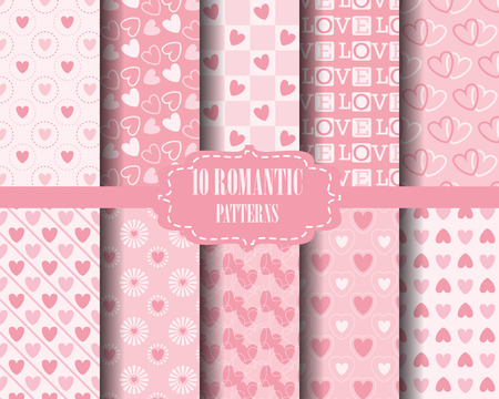 pink stripes: set of Heart patterns, for valentines day, Pattern Swatches, vector, Endless texture can be used for wallpaper, pattern fills, web page,background,surface