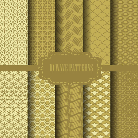 10 different classic wave vector patterns. Endless texture can be used for wallpaper, pattern fills, web page background,surface textures.
