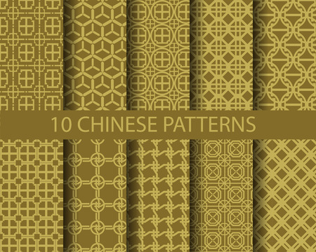 10 different chinese gold traditional patterns,  Pattern Swatches, vector, Endless texture can be used for wallpaper, pattern fills, web page,background,surface Illustration