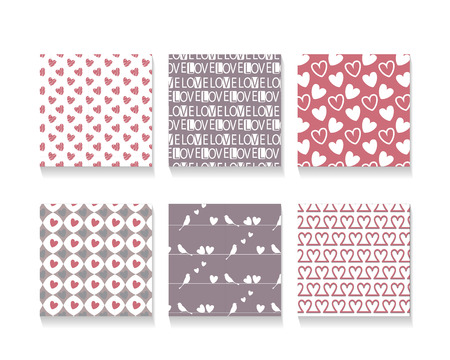 love wallpaper: 6 different  love  seamless patterns, Pattern Swatches, vector, Endless texture can be used for wallpaper, pattern fills, web page,background,surface