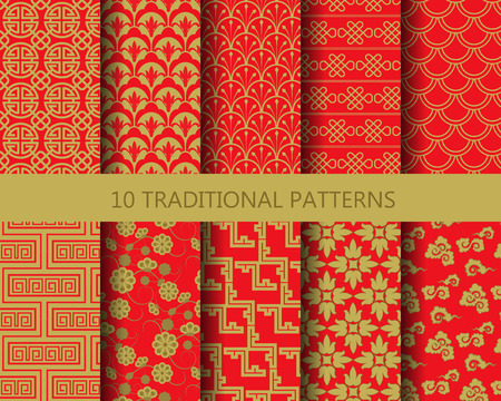 10 different chinese vector patterns. Endless texture can be used for wallpaper, pattern fills, web page background,surface textures. Stock Illustratie