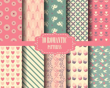 motif floral: ensemble de coeur et le modèle bonbon rose, pour Saint Valentin, Nuancier Pattern, vecteur, Endless texture peut être utilisé pour le papier peint, motifs de remplissage, page Web, fond, surface