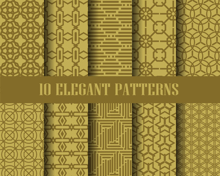 10 elegant patterns,  Pattern Swatches, vector, Endless texture can be used for wallpaper, pattern fills, web page,background,surface