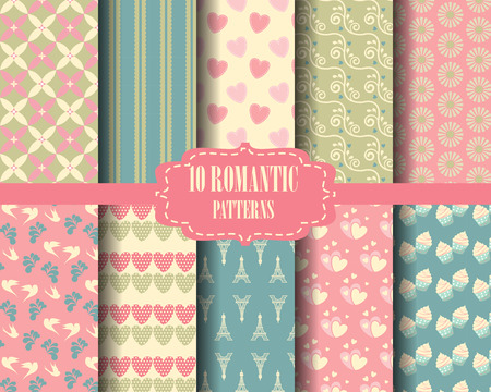 scrapbook background: set of sweet pattern, vintage design for valentines day, Pattern Swatches, vector, Endless texture can be used for wallpaper, pattern fills, web page,background,surface