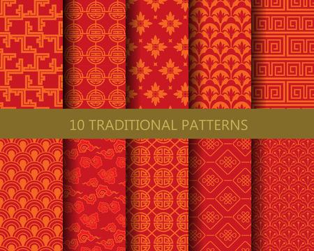 10 の異なる伝統的な中国のパターン。無限のテクスチャは、壁紙、パターンの塗りつぶし、web ページの背景テクスチャに使用できます。  イラスト・ベクター素材