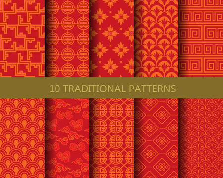 10 different traditional chinese patterns. Endless texture can be used for wallpaper, pattern fills, web page background,surface textures. Stock Illustratie