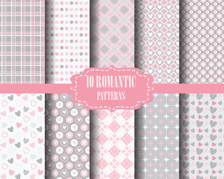 grey pattern: set of Heart, sweet pink pattern for valentines day, Pattern Swatches, vector, Endless texture can be used for wallpaper, pattern fills, web page,background,surface Illustration