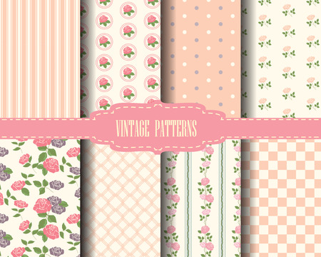 pink wallpaper: set of rose and sweet pink geometric pattern, vintage design Pattern Swatches, vector, Endless texture can be used for wallpaper, pattern fills, web page,background,surface Illustration