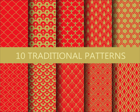 gold textures: 10 different traditional chinese patterns set. red and gold design, Pattern Swatches,  Endless texture can be used for wallpaper, pattern fills, web page background,surface textures. Illustration