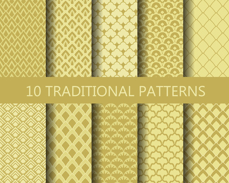 chinese new year pattern: 10 different classic wave patterns set. Endless texture can be used for wallpaper, pattern fills, web page background,surface textures. Illustration