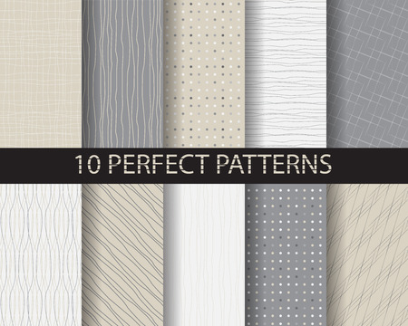 10 different beautiful classic linear and dot patterns. Endless texture can be used for wallpaper, pattern fills, web page background,surface textures,tile, greeting card, scrapbook, backdrop Imagens - 42021509