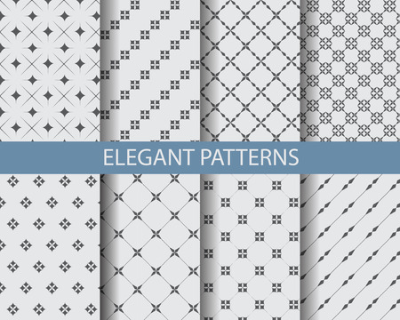 simple background: 8 different classic black and white patterns. Endless texture can be used for wallpaper, pattern fills, web page background,surface textures.