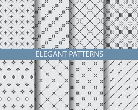 geometricos: 8 modelos blancos y negros clásicos diferentes. Textura sin fin se puede utilizar para el papel pintado, patrones de relleno, de fondo página web texturas de la superficie. Vectores