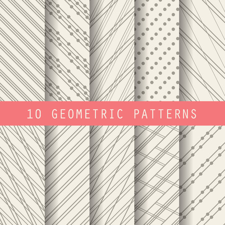 white line: 10 different brown patterns , formal and geometric design, Pattern Swatches vector Endless texture can be used for wallpaper, pattern fills, web page,background,surface