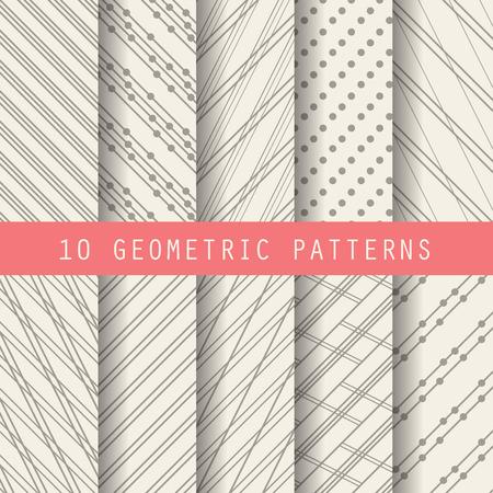 lines decorative: 10 patrones diferentes marrones, formales y de dise�o geom�trico, modelo Muestras del vector textura sin fin se puede utilizar para el papel pintado, patrones de relleno, p�gina web, fondo, superficie Vectores