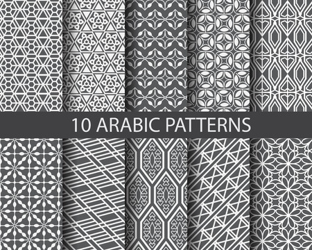 hari raya aidilfitri: 10 different arabic patterns,  Pattern Swatches, vector, Endless texture can be used for wallpaper, pattern fills, web page,background,surface Illustration