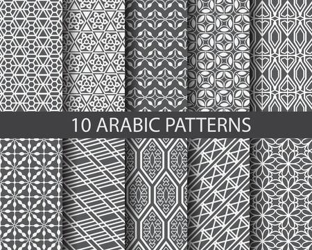 10 verschillende Arabische patronen, patroonstalen, vector, kan Endless textuur worden gebruikt voor behang, patroonvullingen, webpagina achtergrond, oppervlaktestructuren Stock Illustratie