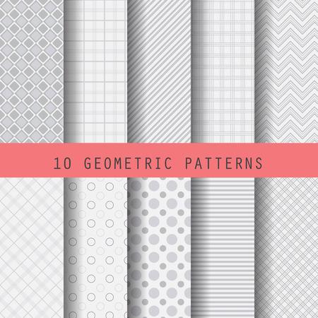 10 の異なるグレー パターン、形式的な幾何学的なデザイン、パターンスウォッチ ベクトル壁紙、パターンの塗りつぶし、web ページ、背景、無限テ