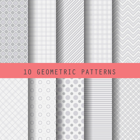 10 different gray patterns , formal and geometric design, Pattern Swatches vector Endless texture can be used for wallpaper, pattern fills, web page,background,surface