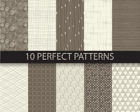 10 different beautiful classic linear and dot patterns. Endless texture can be used for wallpaper, pattern fills, web page background,surface textures,tile, greeting card, scrapbook, backdrop