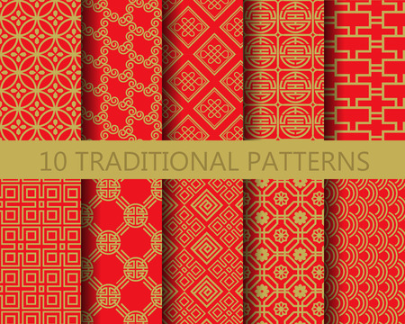 10 different chinese vector patterns. Endless texture can be used for wallpaper, pattern fills, web page background,surface textures. Vettoriali
