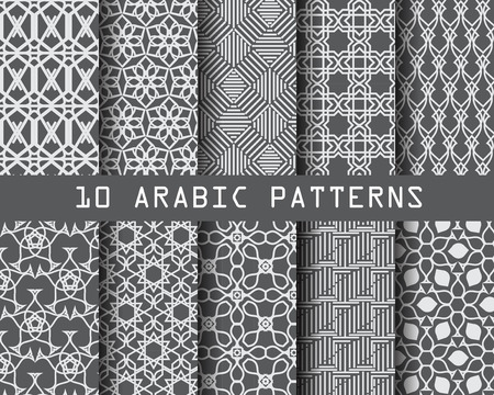 aidilfitri: 10 arabic patterns,  Pattern Swatches, vector, Endless texture can be used for wallpaper, pattern fills, web page,background,surface