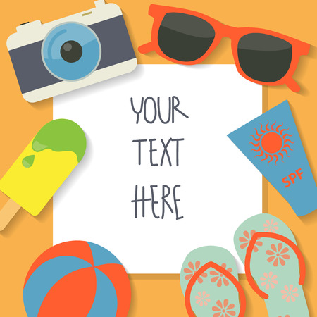 여름 휴가 배경, 텍스트 광고, 벽지, 카드를 추가 할 수 있습니다 일러스트