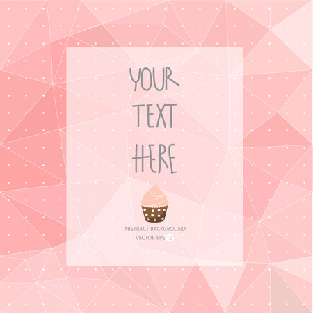 polka dot fabric: sweet pink pattern, low poly design, hipster and girly concept with logo, text can be edited,texture can be used for wallpaper, pattern fills, web page background,surface textures.