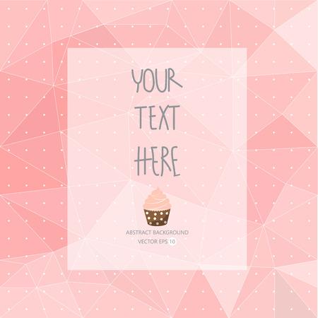 zoete roze patroon, laag poly ontwerp, hipster en girly concept met logo, tekst kan worden bewerkt, textuur kan worden gebruikt voor behang, patroonvullingen, webpagina achtergrond, oppervlaktestructuren. Stock Illustratie