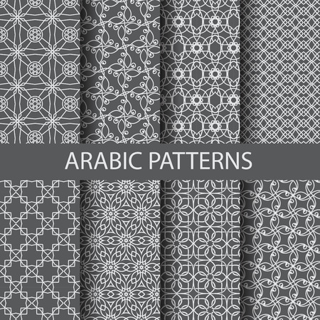 background motif: 8 arabic patterns,  Pattern Swatches, vector, Endless texture can be used for wallpaper, pattern fills, web page,background,surface