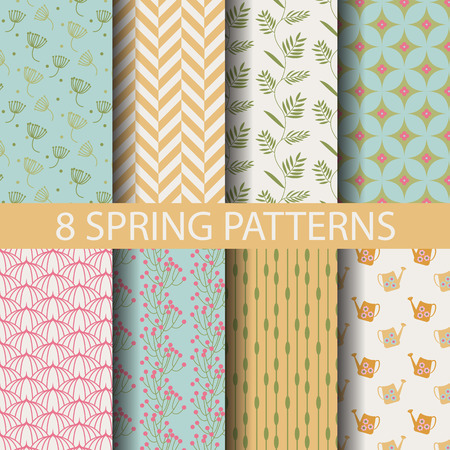 patterns vector: 8 different  spring patterns,  Pattern Swatches, vector, Endless texture can be used for wallpaper, pattern fills, web page,background,surface