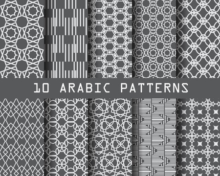formal: 10 different arabic patterns,  Pattern Swatches, vector, Endless texture can be used for wallpaper, pattern fills, web page,background,surface Illustration