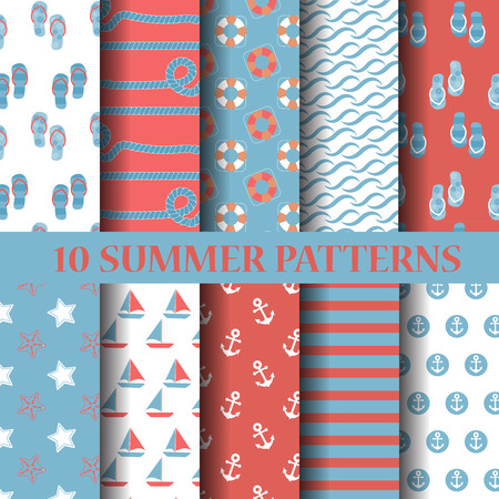 sailboats: 10 different summer patterns, Swatches, vector, Endless texture can be used for wallpaper, pattern fills, web page,background,surface