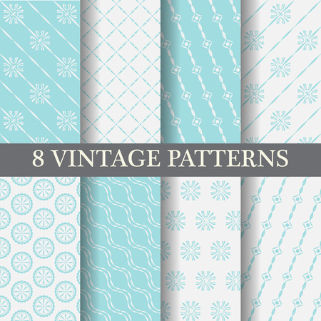 repeating background: 8 different blue elegant  patterns, vintage and classic style,  Pattern Swatches, vector, Endless texture can be used for wallpaper, pattern fills, web page,background,surface