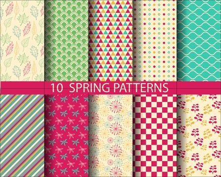 10 different spring patterns, Pattern Swatches, vector, Endless texture can be used for wallpaper, pattern fills, web page,background,surface