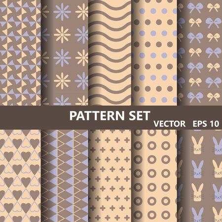 catoon: wave vector patterns set. Endless texture can be used for wallpaper, pattern fills, web page background,surface textures. Stock Photo