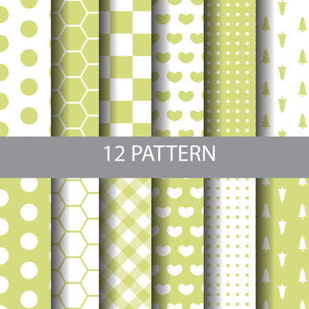sur: 12 different vector seamless patterns. Endless texture can be used for wallpaper, pattern fills, web page,background,sur face Illustration