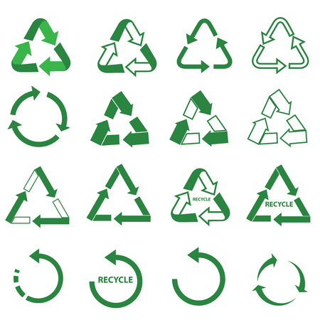 recycle bin: ecology green icons recycle sign set Illustration