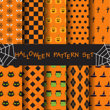 sur: 10 different halloween vector patterns. Endless texture can be used for wallpaper, pattern fills, web page,background,sur face