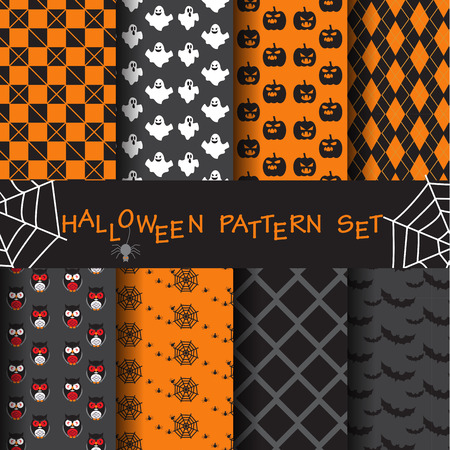seamless background: 8 different halloween vector patterns. Endless texture can be used for wallpaper, pattern fills, web page,background,sur face