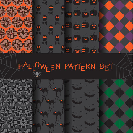 scot: 8 different funny and cute halloween patterns set. Endless texture can be used for wallpaper, pattern fills, web page,background,surface Illustration